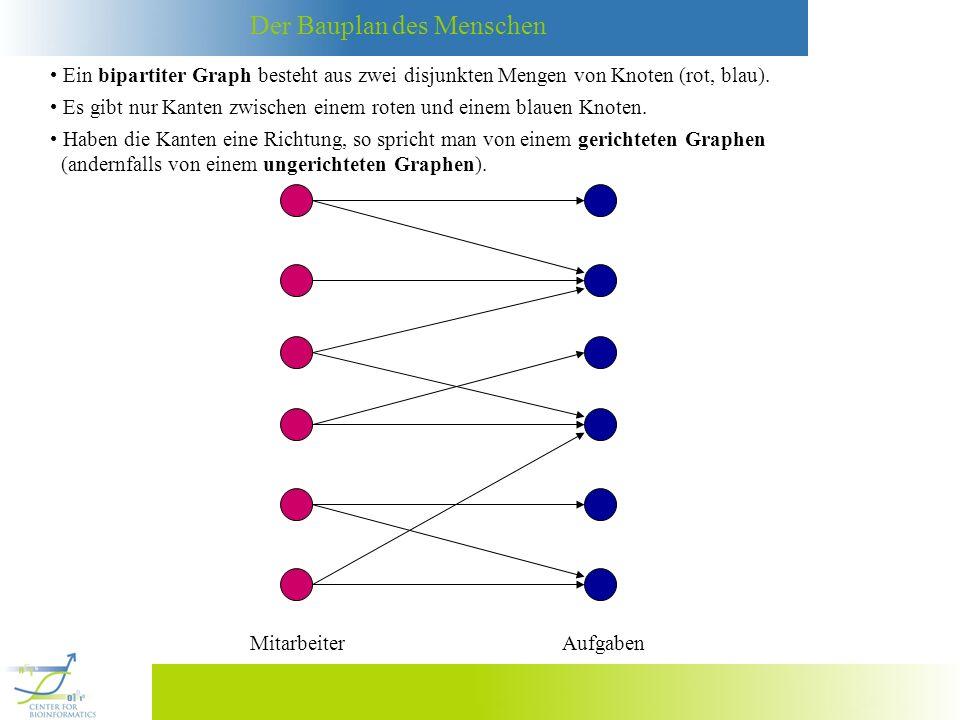 Ein bipartiter Graph besteht aus zwei disjunkten Mengen von Knoten (rot, blau).