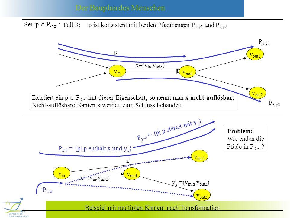 Sei p  P->x : Fall 3: p ist konsistent mit beiden Pfadmengen Px,y1 und Px,y2. Px,y1. p. vout1.