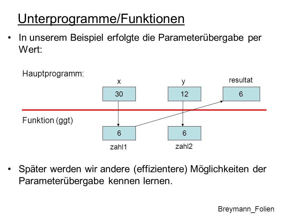 Unterprogramme/Funktionen