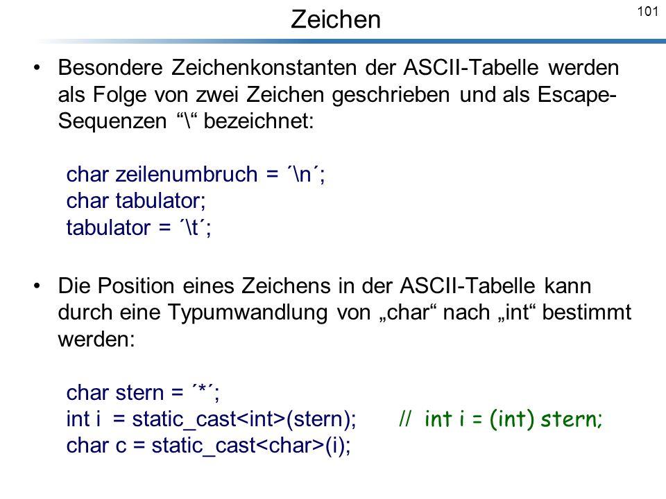 Zeichen Besondere Zeichenkonstanten der ASCII-Tabelle werden als Folge von zwei Zeichen geschrieben und als Escape-Sequenzen \ bezeichnet: