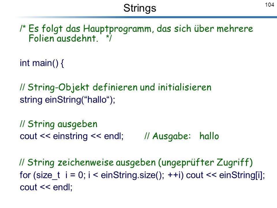 // String zeichenweise ausgeben (ungeprüfter Zugriff)