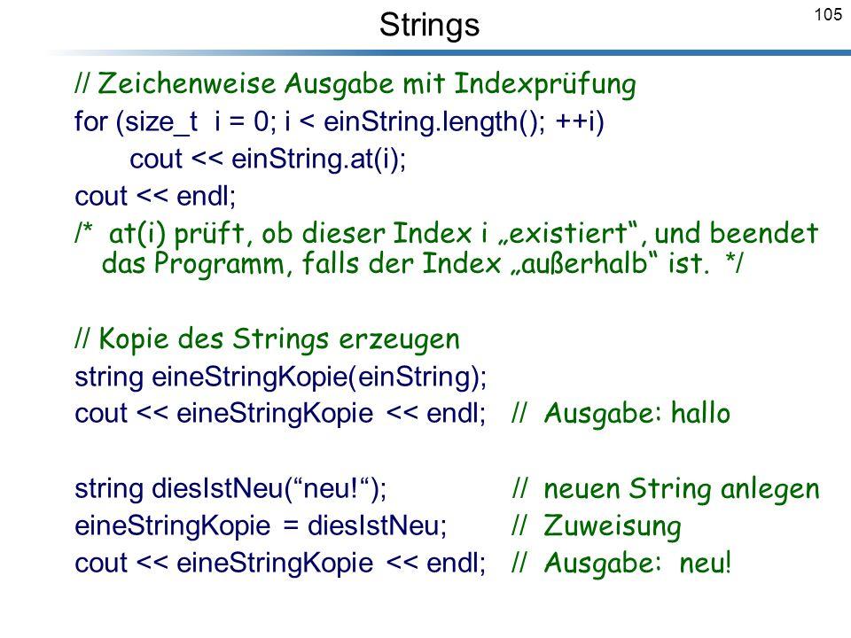 Strings // Zeichenweise Ausgabe mit Indexprüfung