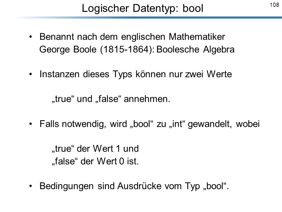 Logischer Datentyp: bool