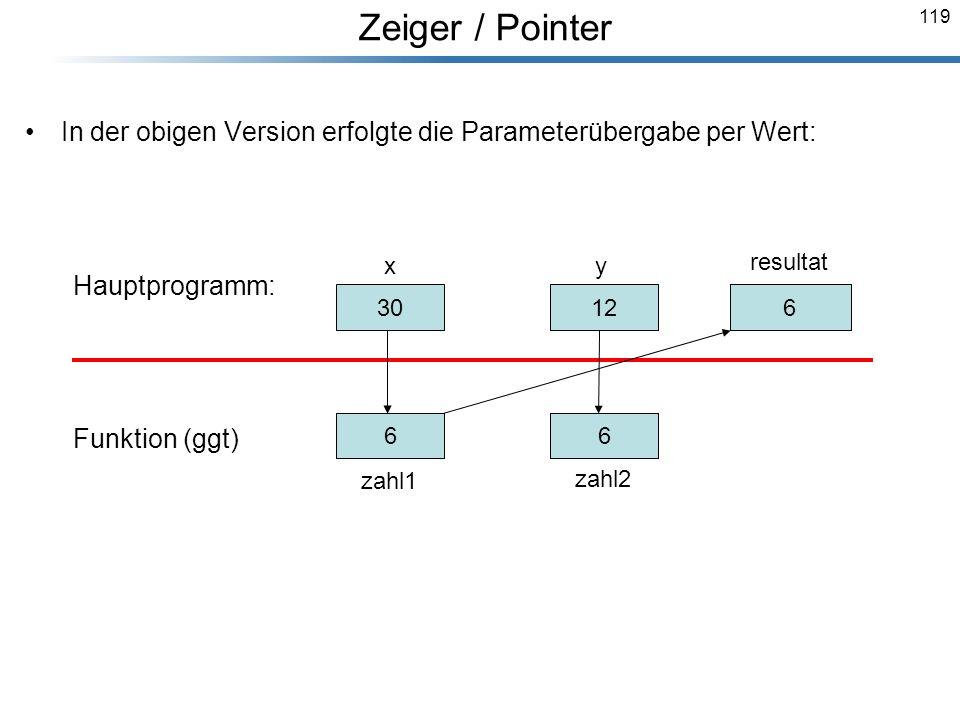 Zeiger / Pointer In der obigen Version erfolgte die Parameterübergabe per Wert: Hauptprogramm: Funktion (ggt)