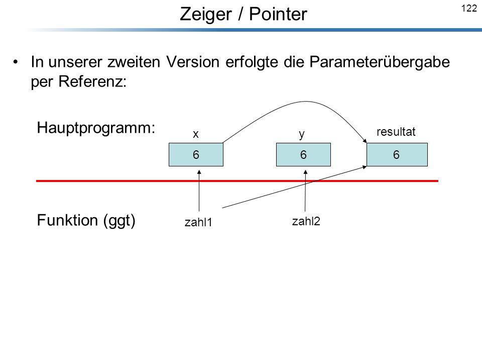 Zeiger / Pointer In unserer zweiten Version erfolgte die Parameterübergabe per Referenz: Hauptprogramm: