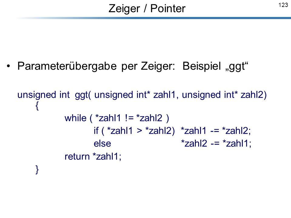 """Parameterübergabe per Zeiger: Beispiel """"ggt"""