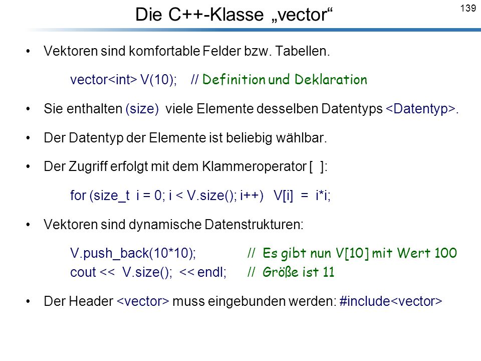 """Die C++-Klasse """"vector"""