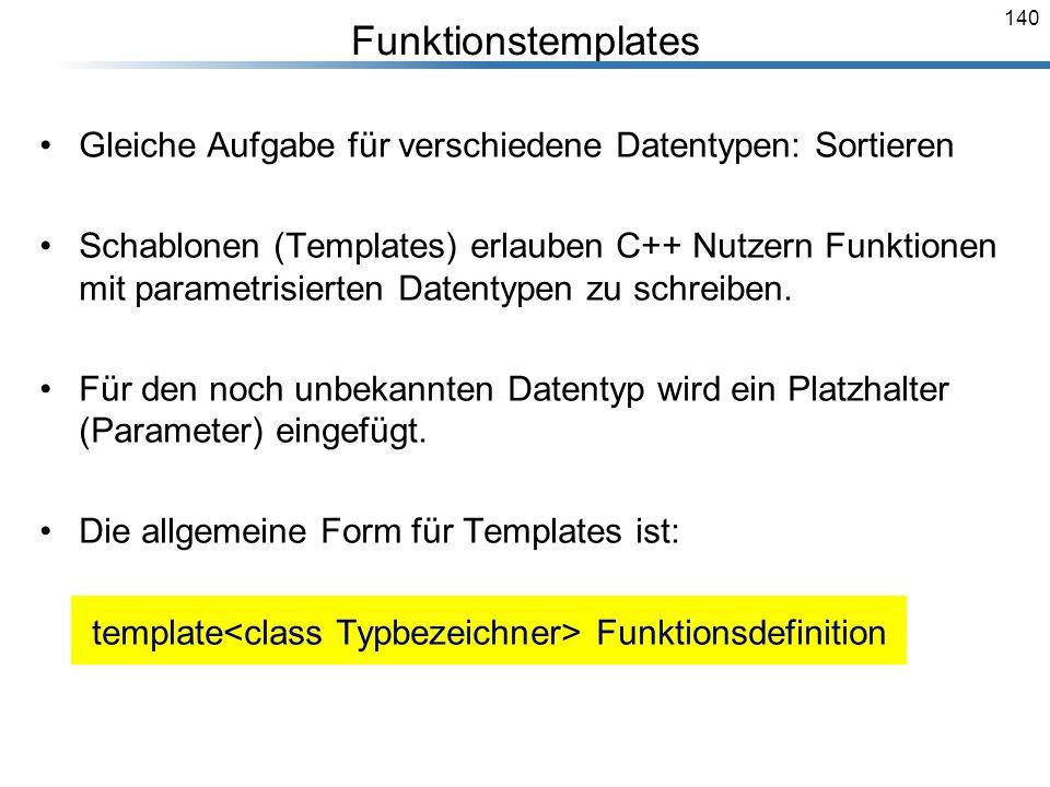 Funktionstemplates Gleiche Aufgabe für verschiedene Datentypen: Sortieren.