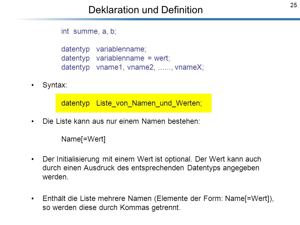 Deklaration und Definition