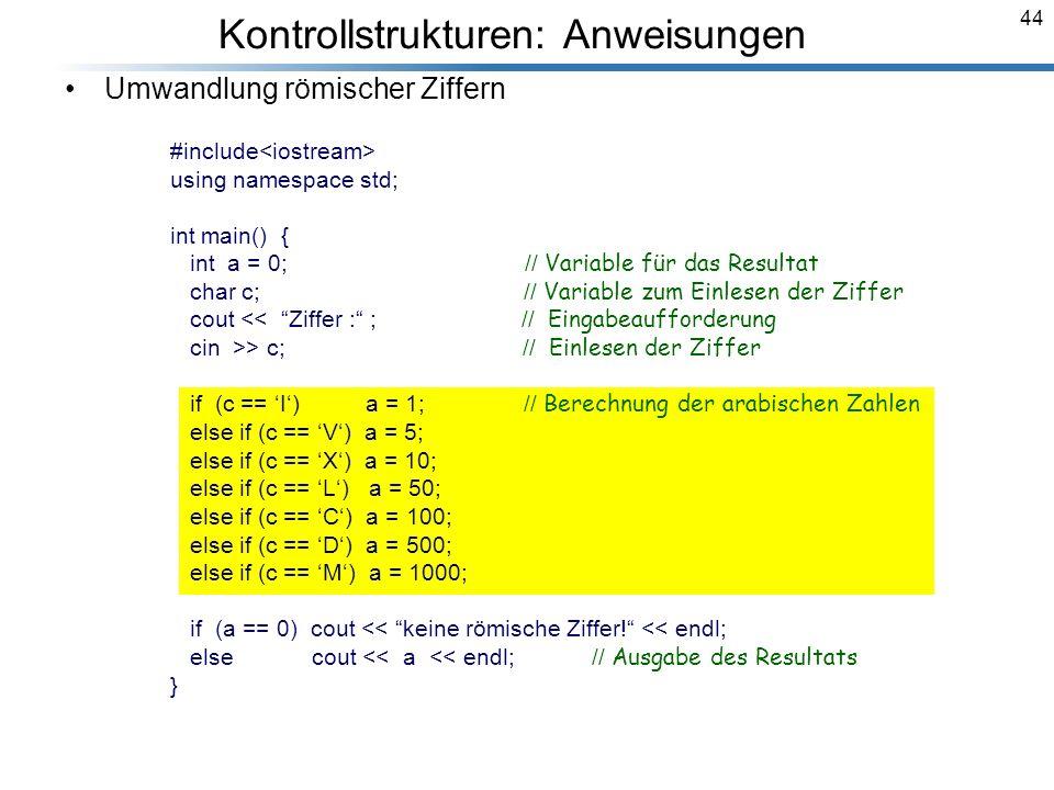 Kontrollstrukturen: Anweisungen