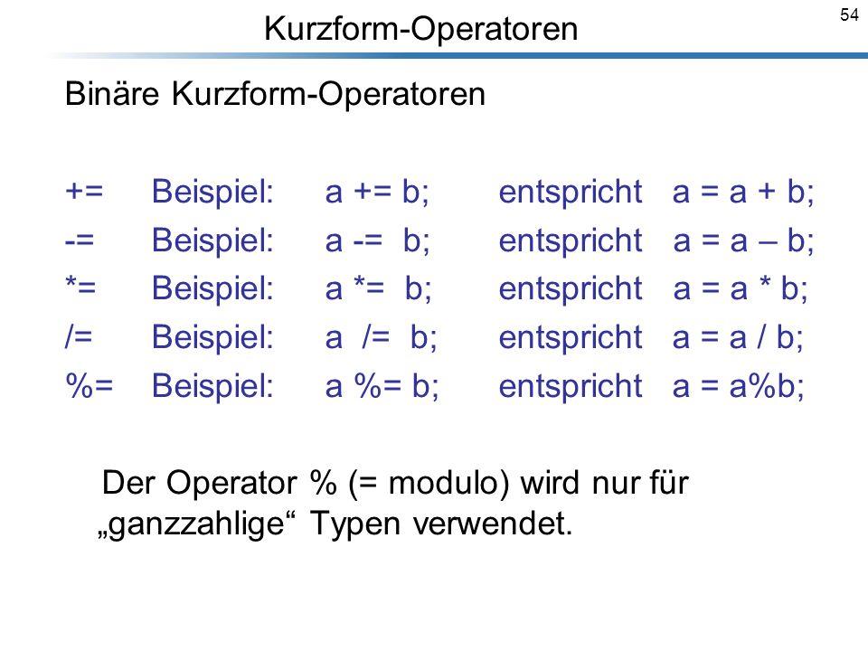 Binäre Kurzform-Operatoren += Beispiel: a += b; entspricht a = a + b;