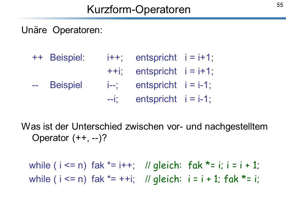 Kurzform-Operatoren Unäre Operatoren: