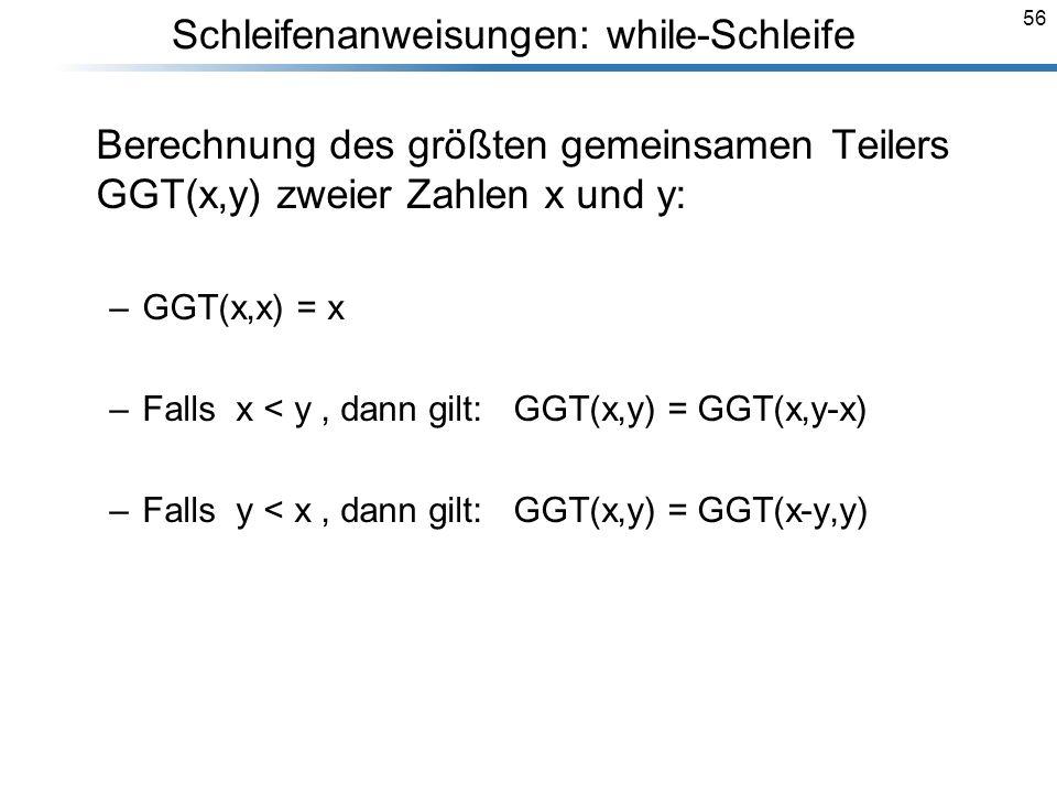 Schleifenanweisungen: while-Schleife
