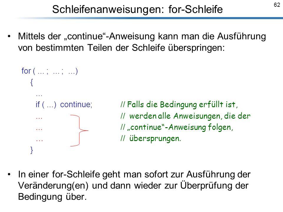 Schleifenanweisungen: for-Schleife