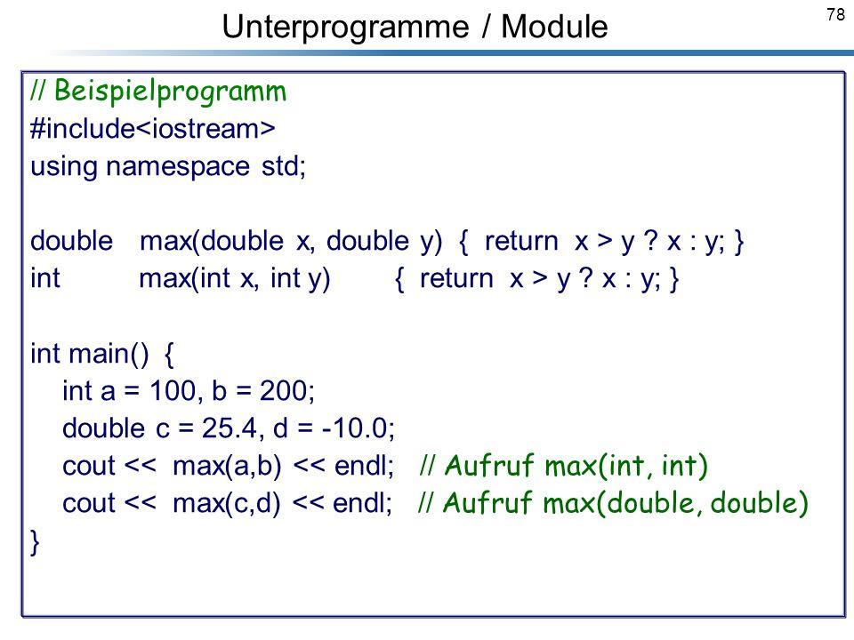 Unterprogramme / Module