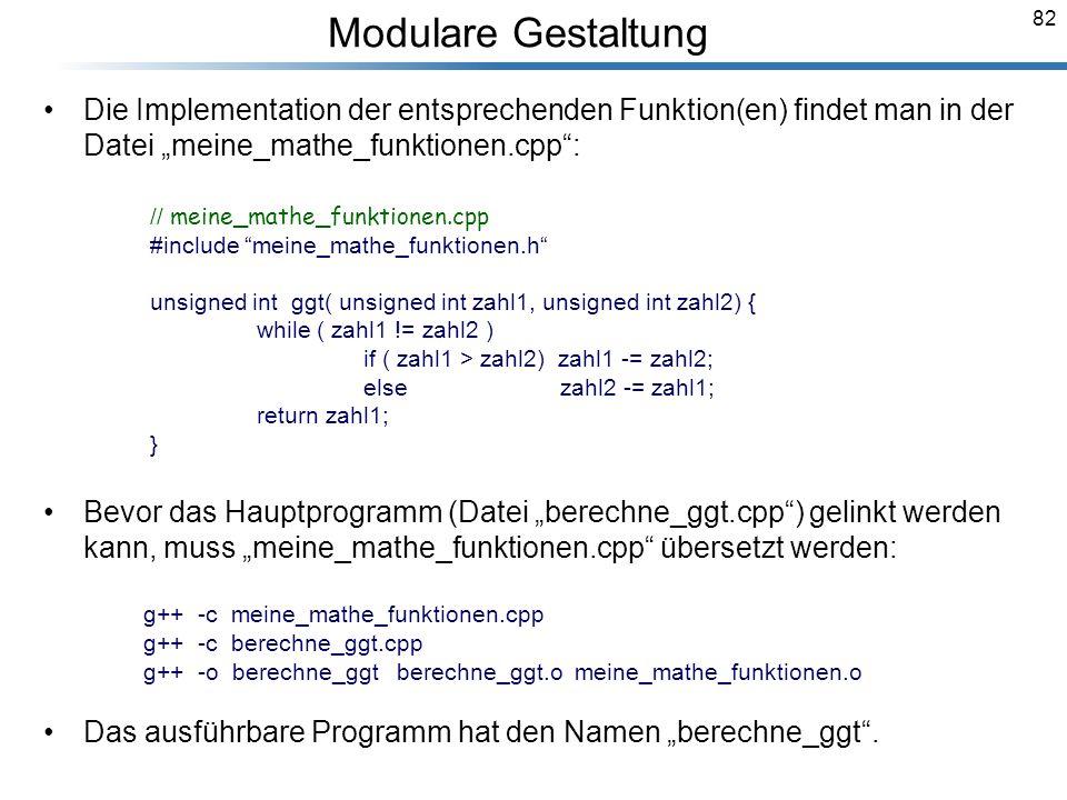 """Modulare Gestaltung Die Implementation der entsprechenden Funktion(en) findet man in der Datei """"meine_mathe_funktionen.cpp :"""