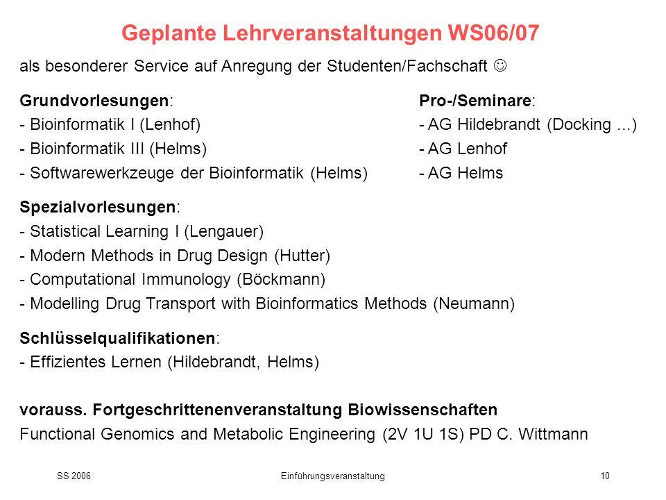 Geplante Lehrveranstaltungen WS06/07