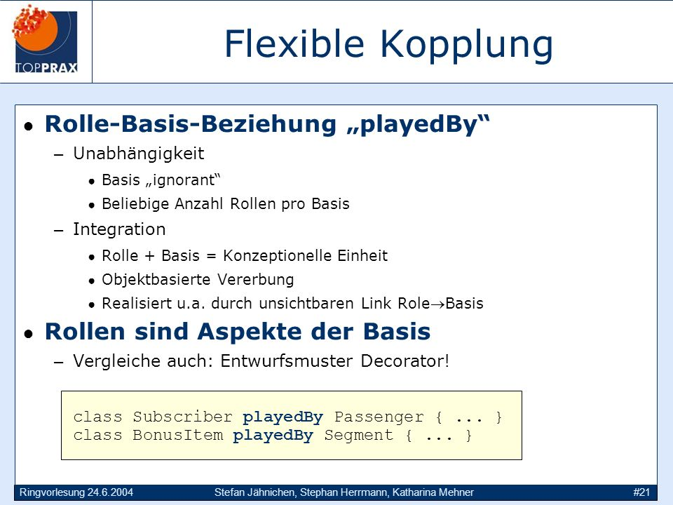 """Flexible Kopplung Rolle-Basis-Beziehung """"playedBy"""