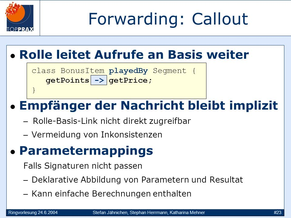 Forwarding: Callout Rolle leitet Aufrufe an Basis weiter