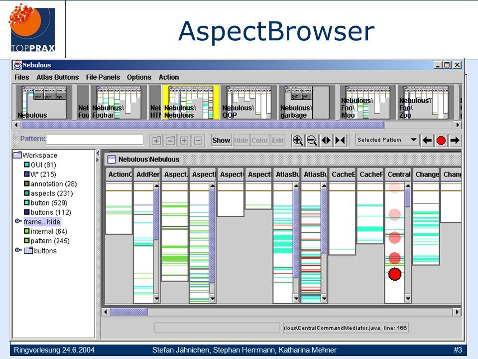AspectBrowser Anknüpfen an Mikado: Genaue Analyse der zerstörten Modularität auf Ebene des Codes. Screenshot.