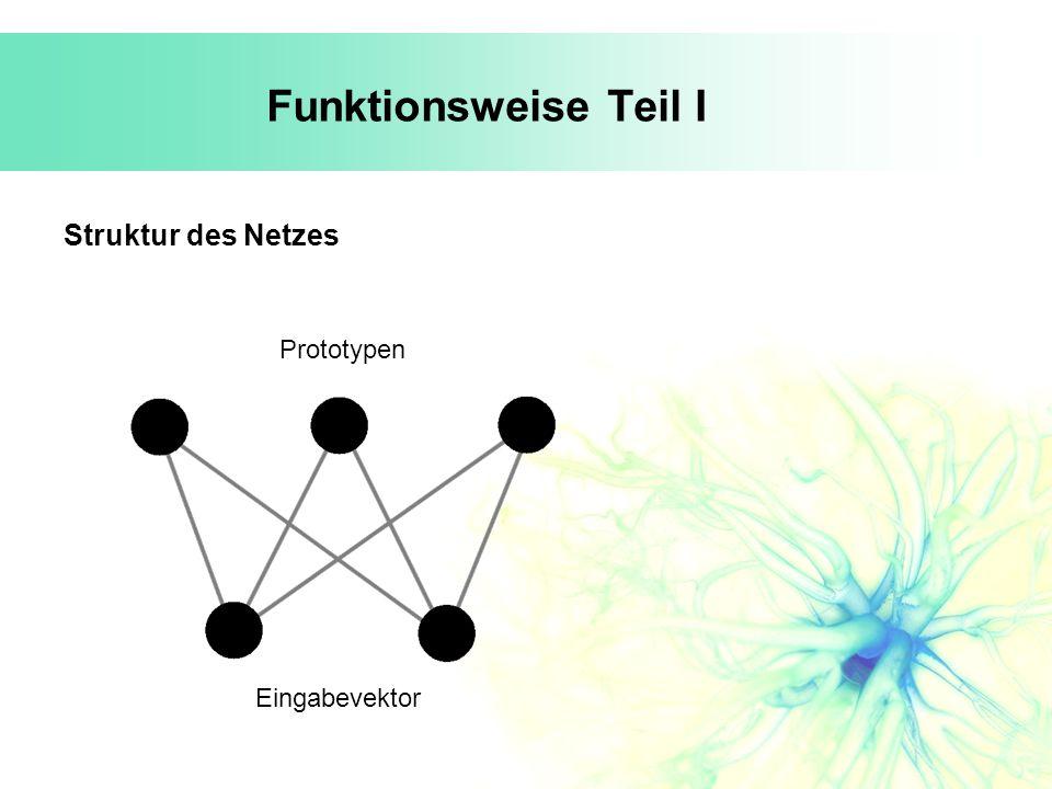 Funktionsweise Teil I Struktur des Netzes Prototypen Eingabevektor
