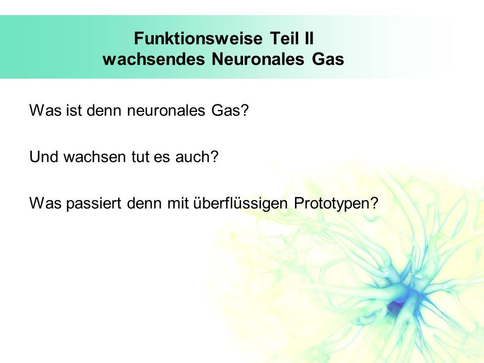Funktionsweise Teil II wachsendes Neuronales Gas