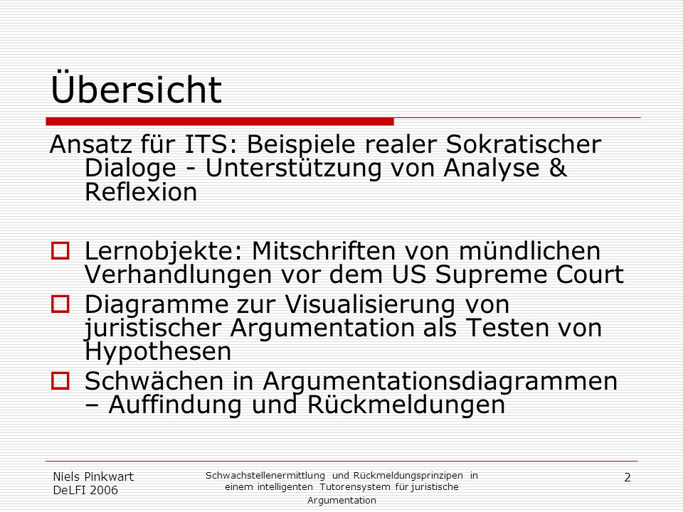 ÜbersichtAnsatz für ITS: Beispiele realer Sokratischer Dialoge - Unterstützung von Analyse & Reflexion.