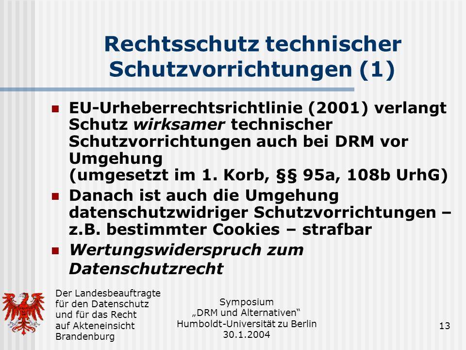 Rechtsschutz technischer Schutzvorrichtungen (1)