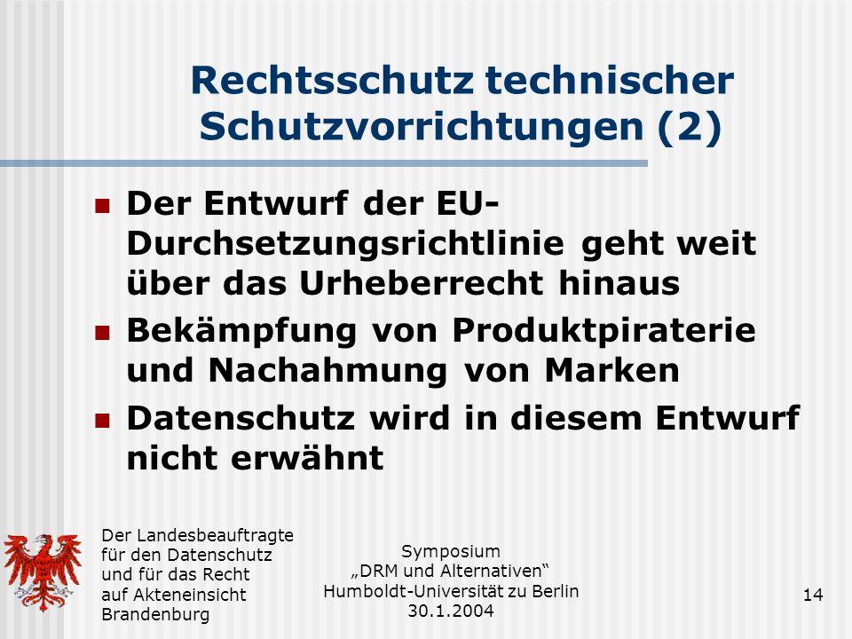 Rechtsschutz technischer Schutzvorrichtungen (2)