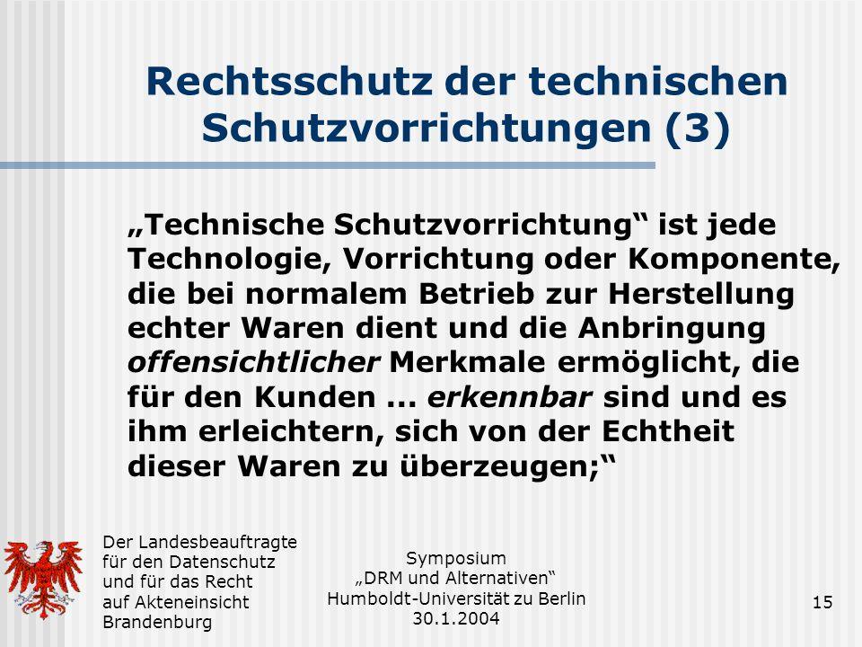 Rechtsschutz der technischen Schutzvorrichtungen (3)