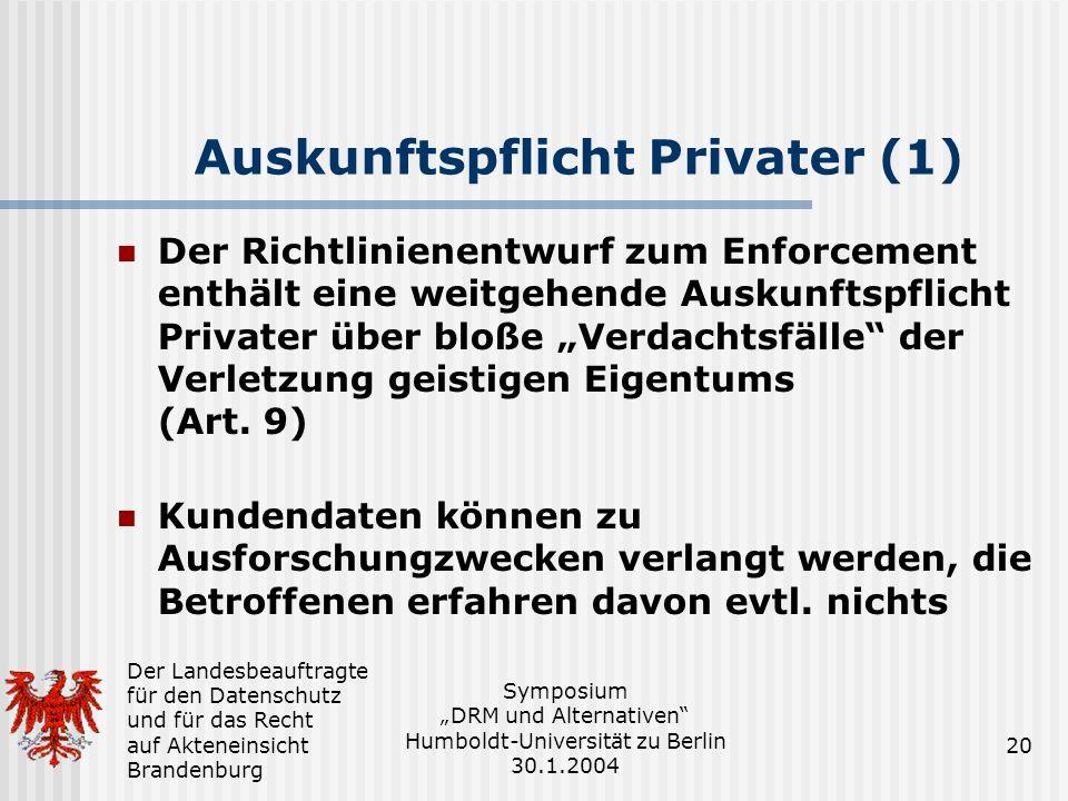 Auskunftspflicht Privater (1)
