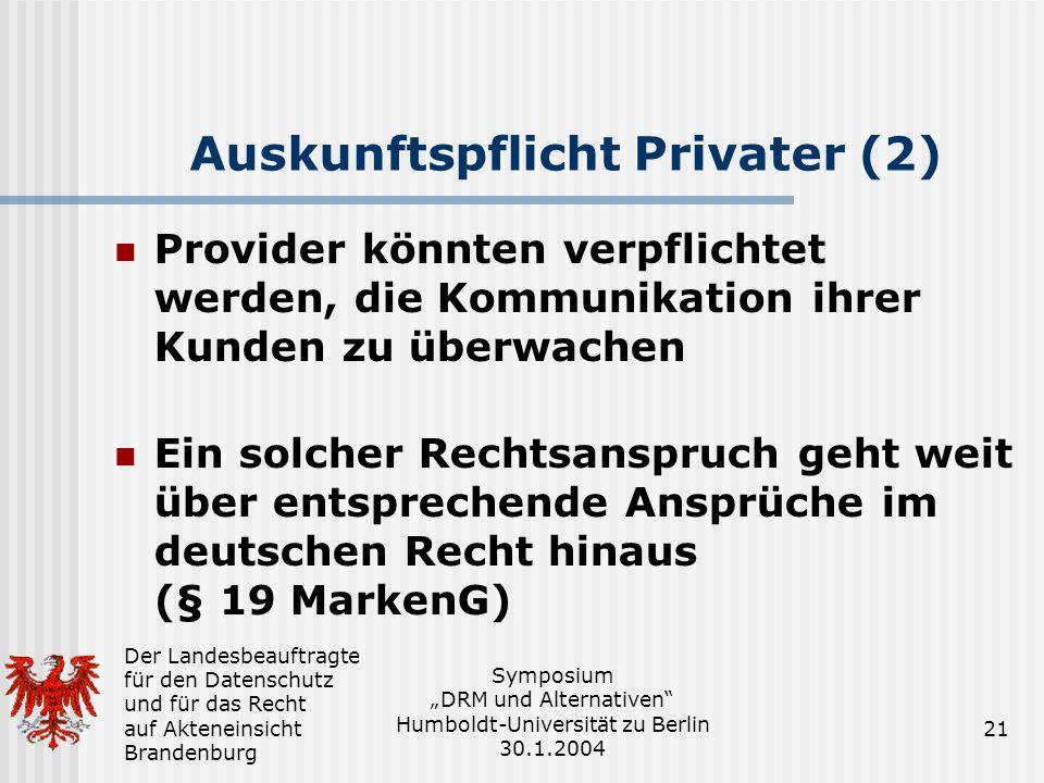 Auskunftspflicht Privater (2)