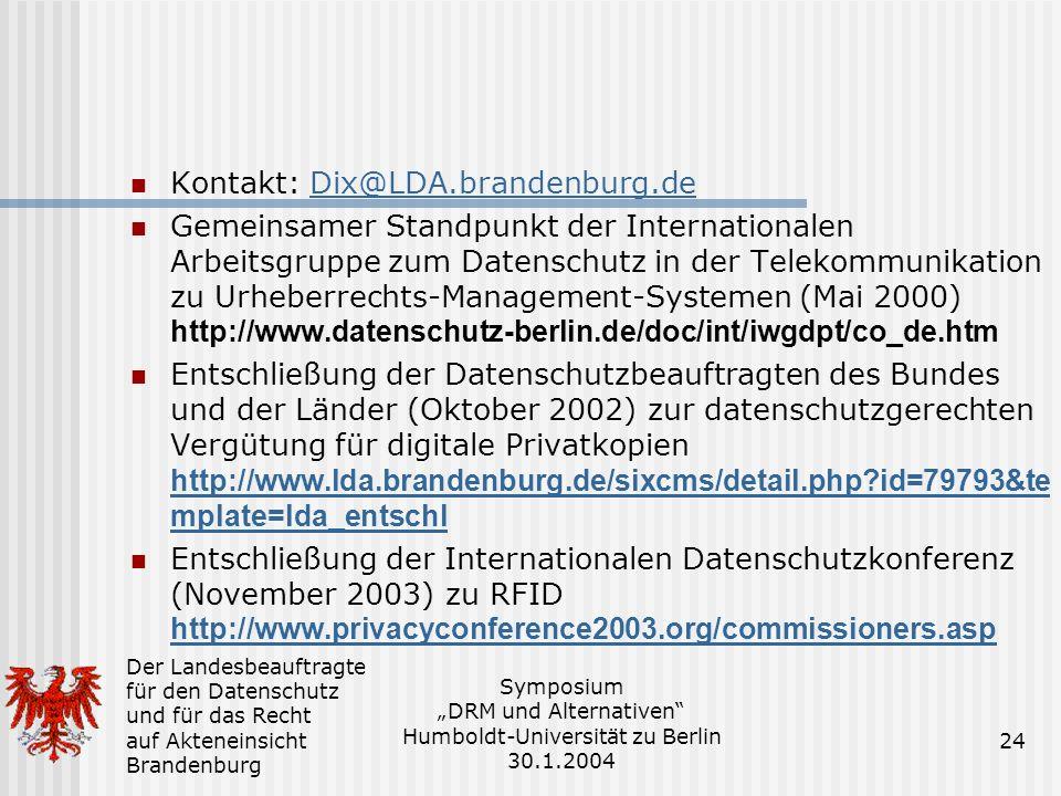 Kontakt: Dix@LDA.brandenburg.de
