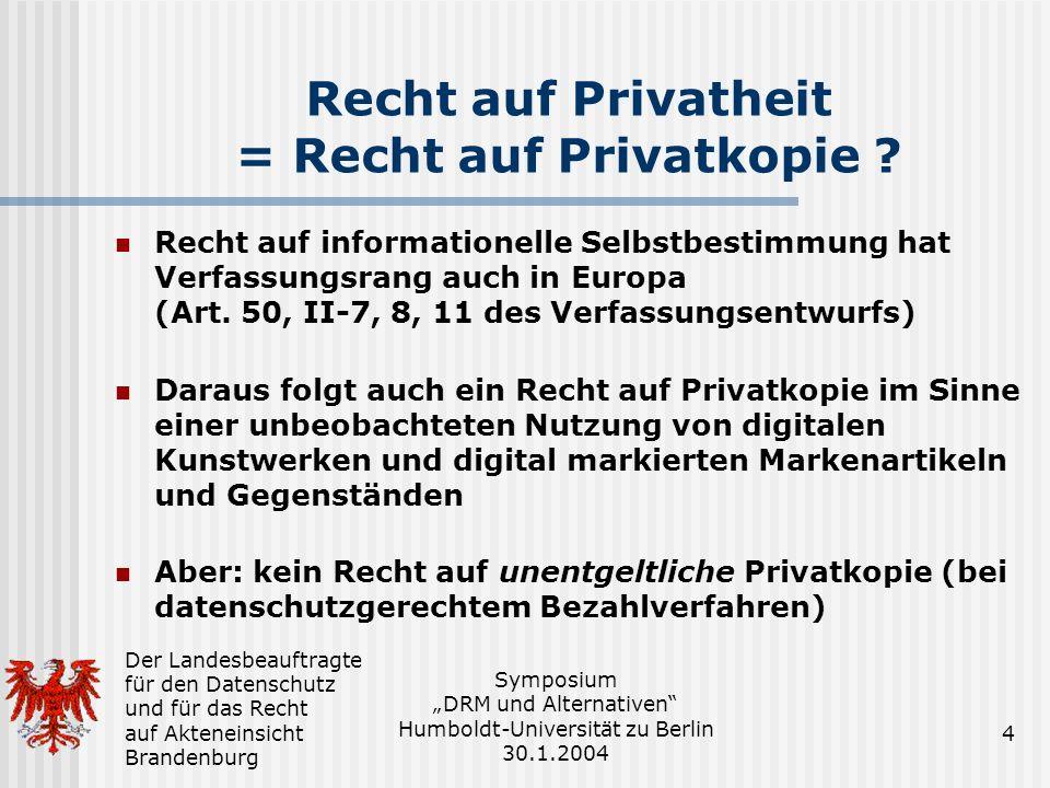 Recht auf Privatheit = Recht auf Privatkopie