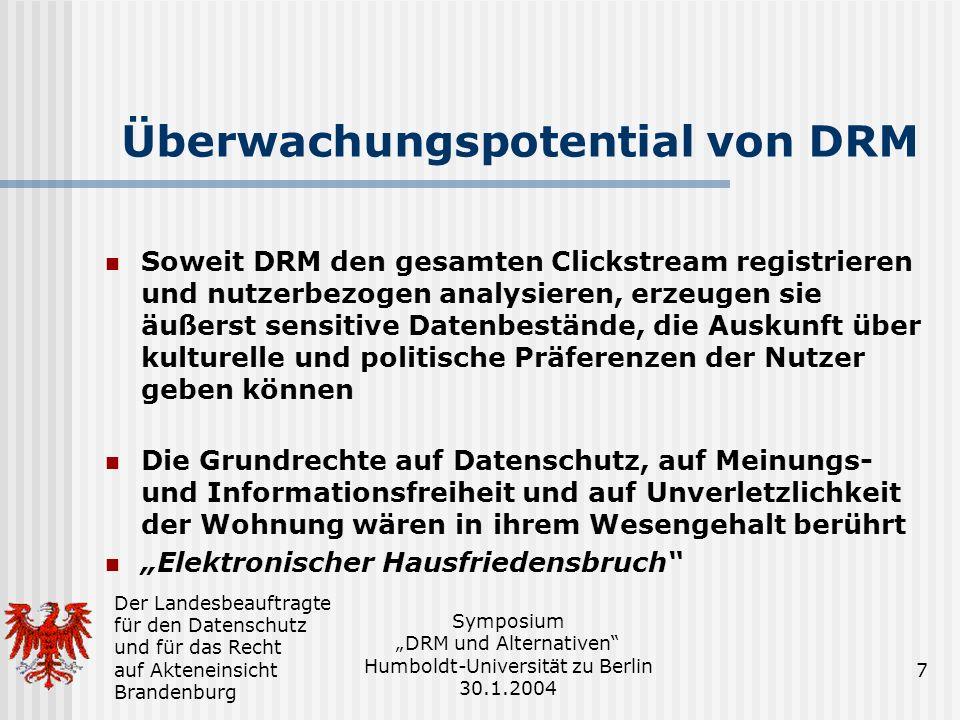Überwachungspotential von DRM