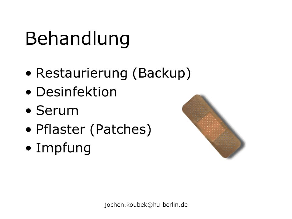 Behandlung Restaurierung (Backup) Desinfektion Serum