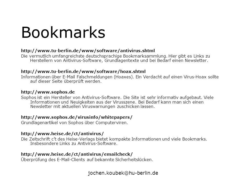 Bookmarks jochen.koubek@hu-berlin.de