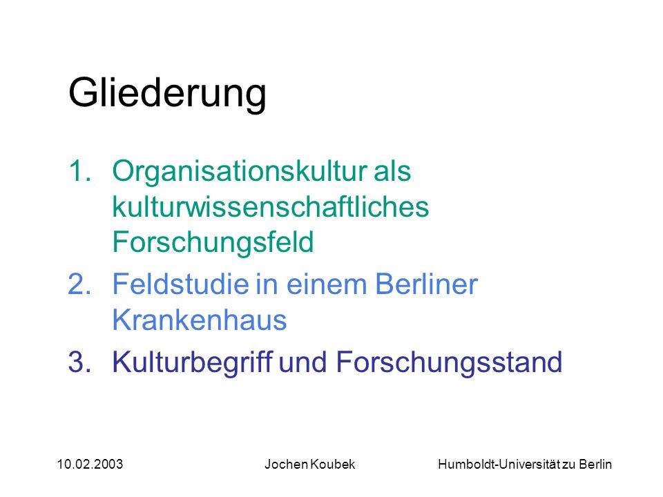 Gliederung Organisationskultur als kulturwissenschaftliches Forschungsfeld. Feldstudie in einem Berliner Krankenhaus.