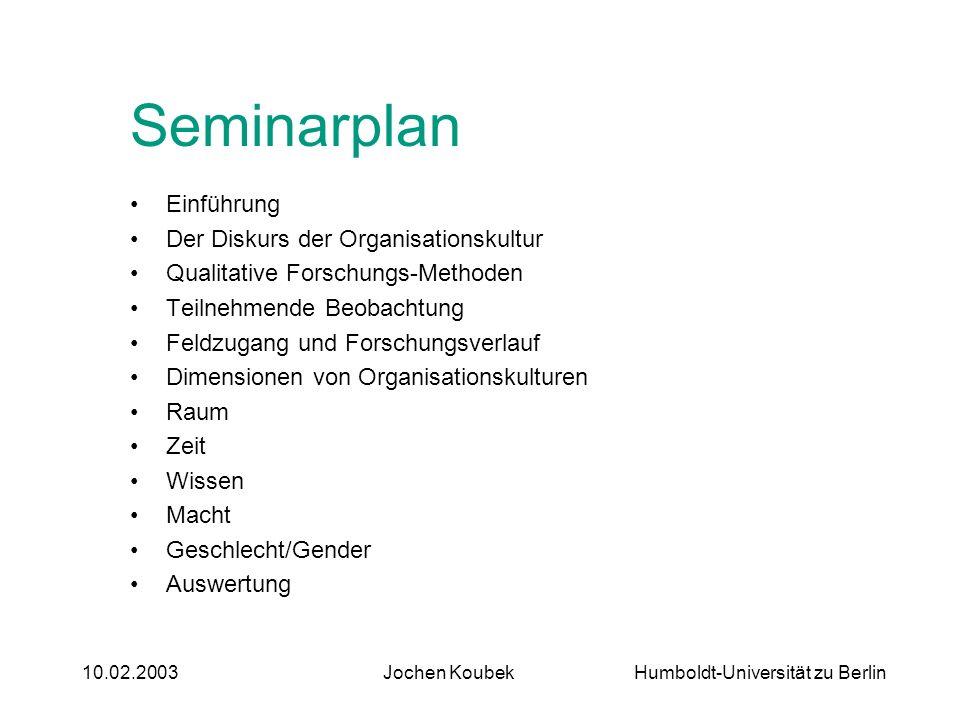 Seminarplan Einführung Der Diskurs der Organisationskultur