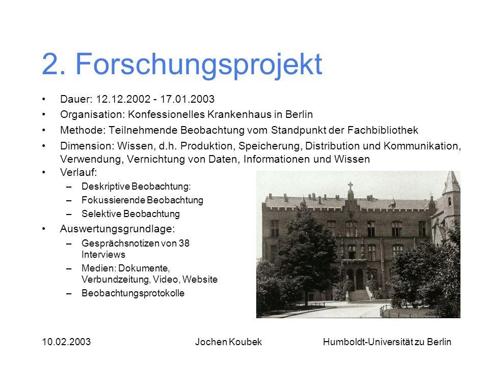 2. Forschungsprojekt Dauer: 12.12.2002 - 17.01.2003