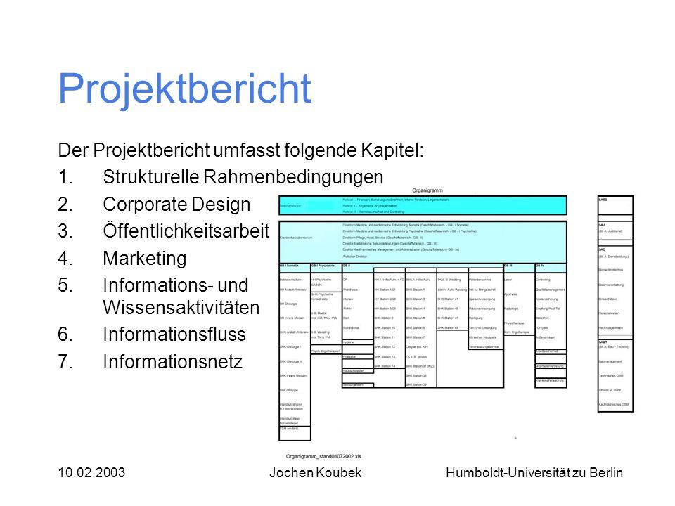 Projektbericht Der Projektbericht umfasst folgende Kapitel: