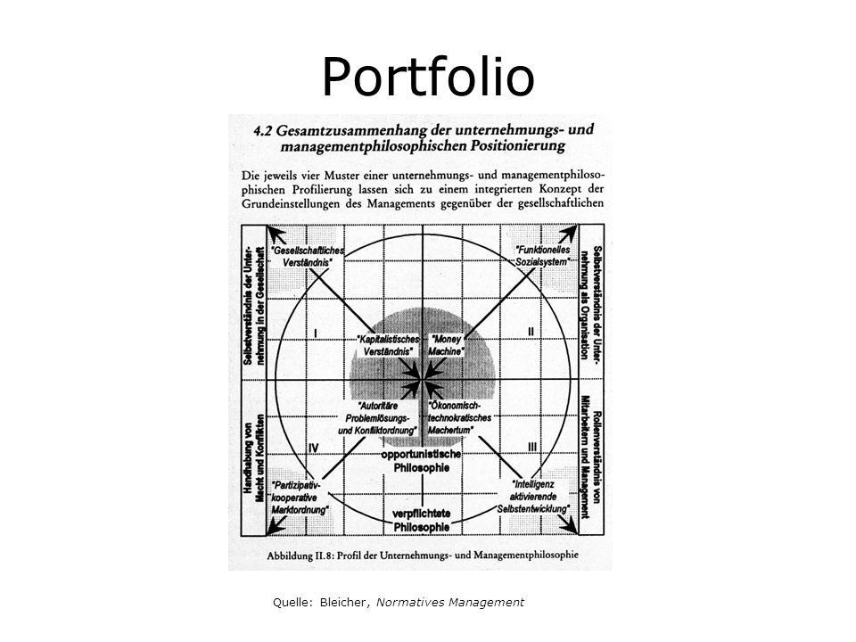 Portfolio Quelle: Bleicher, Normatives Management