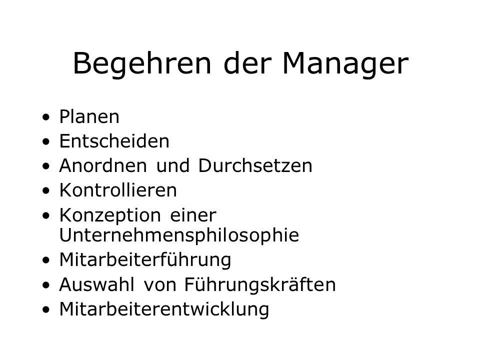 Begehren der Manager Planen Entscheiden Anordnen und Durchsetzen