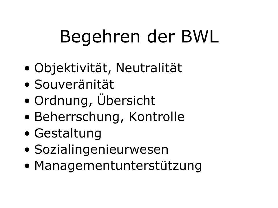 Begehren der BWL Objektivität, Neutralität Souveränität