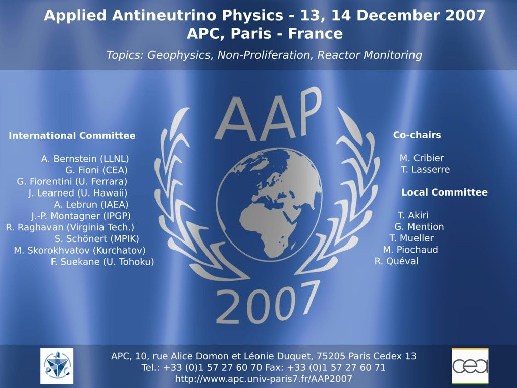 Applied Antineutrino Physics 2007