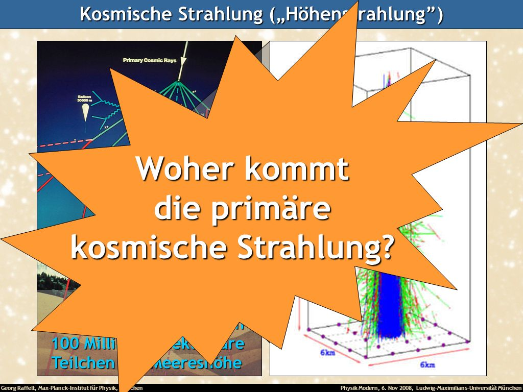 """Kosmische Strahlung (""""Höhenstrahlung )"""