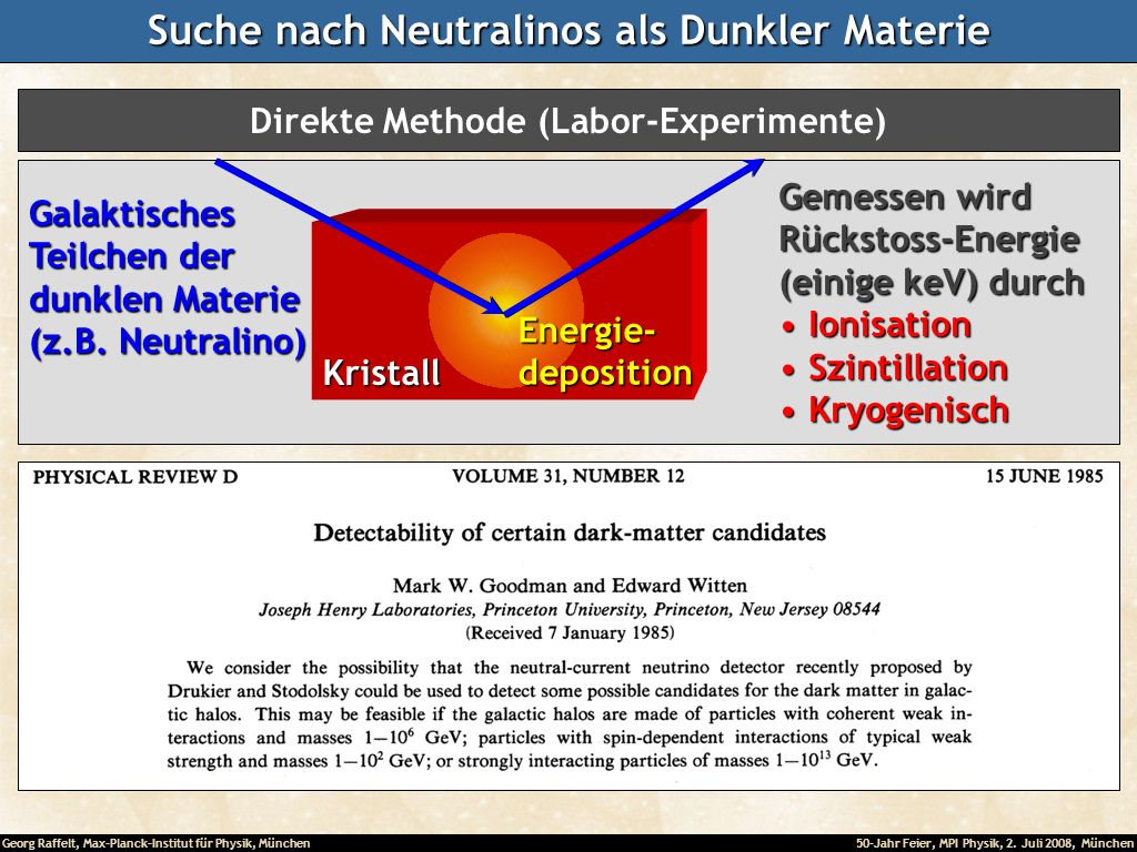 Suche nach Neutralinos als Dunkler Materie