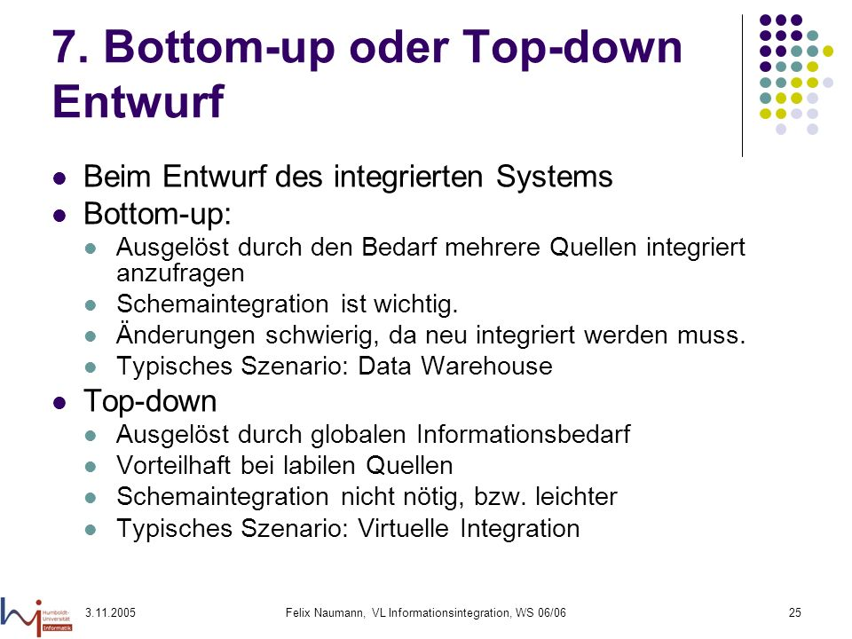 7. Bottom-up oder Top-down Entwurf