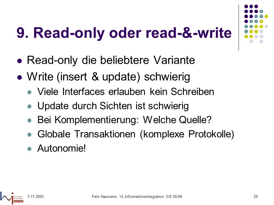 9. Read-only oder read-&-write