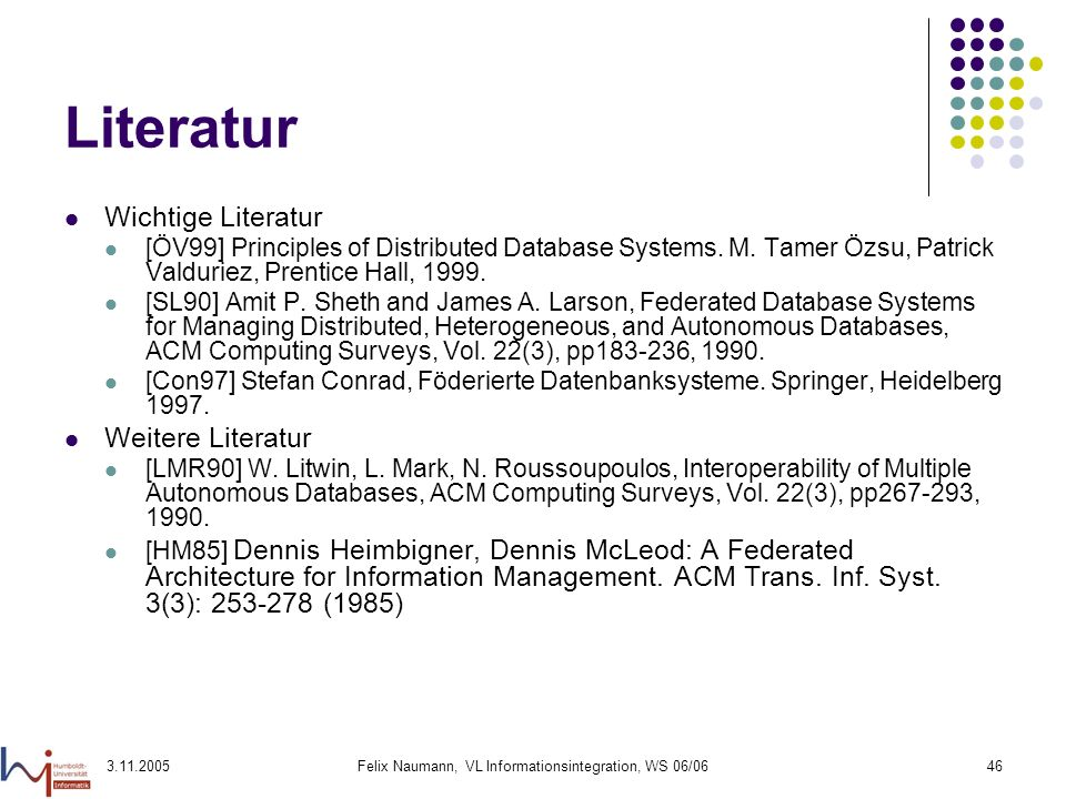 Felix Naumann, VL Informationsintegration, WS 06/06